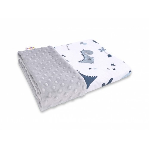 Baby Nellys Bavlnená deka s Minky 100x75cm, Dino - granát, sivá