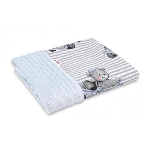Baby Nellys Bavlnená deka s Minky 100x75cm, Baby Car - modrá