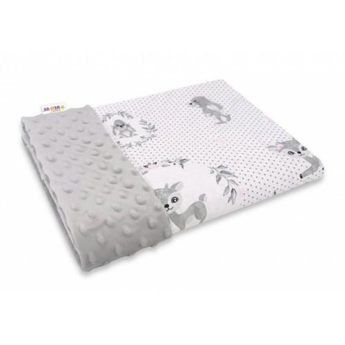 Baby Nellys Bavlnená deka s Minky 100x75cm, Koloušek, šedá, růžová