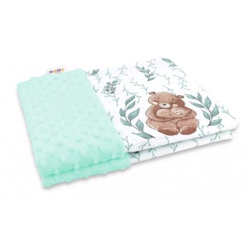 Baby Nellys Bavlnená deka s Minky 100x75cm, LULU natural, mätová