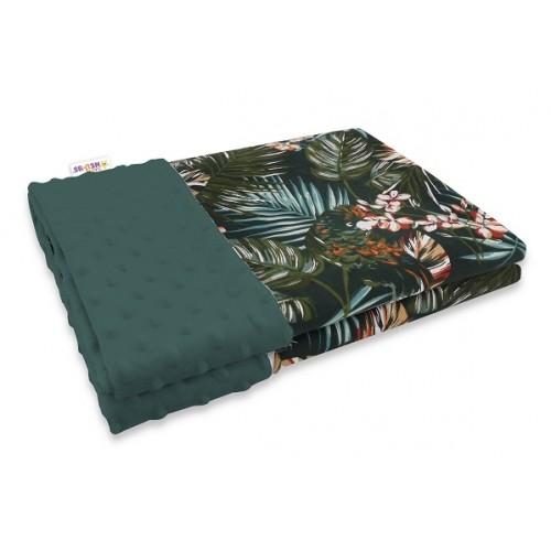 Baby Nellys Bavlnená deka s Minky 100x75cm, Papagáj - zelená