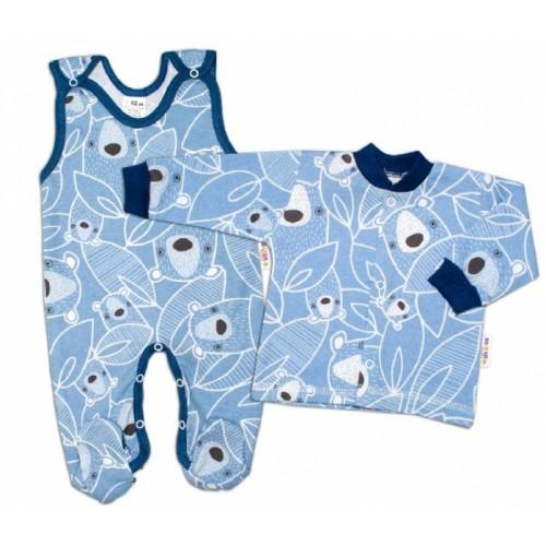 Baby Nellys 2 - dielna sada, bavlnené dupačky s košieľkou Medvedík, modrá, veľ. 62