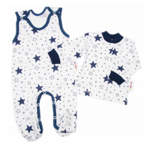 Baby Nellys 2 - dielna sada, bavlnené dupačky s košieľkou Galaxia, biela/granát