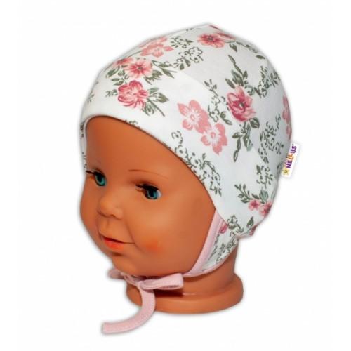 Baby Bavlnená čiapočka s uškami na zaväzovanie - Ruže, pudrová/ecru, veľ. 62/68