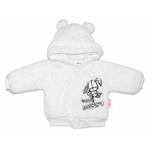 Baby Nellys Dojčenská chlupáčková bundička  s kapucňou Cute Bunny - biela, veľ. 68