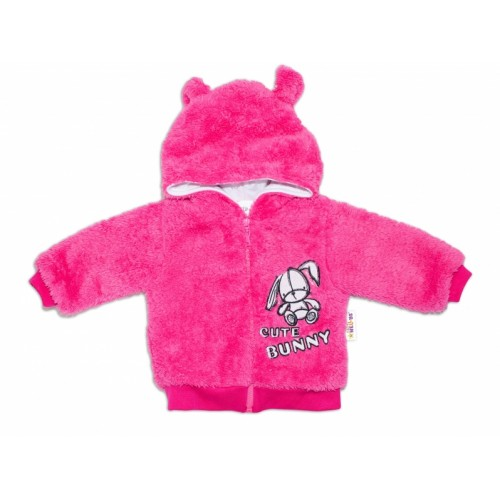 Baby Nellys Dojčenská chlupáčková bundička  s kapucňou Cute Bunny - malinová