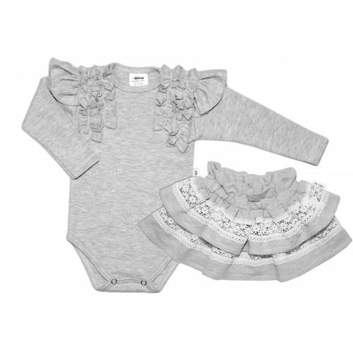 BABY NELLYS 2 dielna sada, body dl.rukáv + suknička s krajkou a volánikmi, veľ. 80, sivá