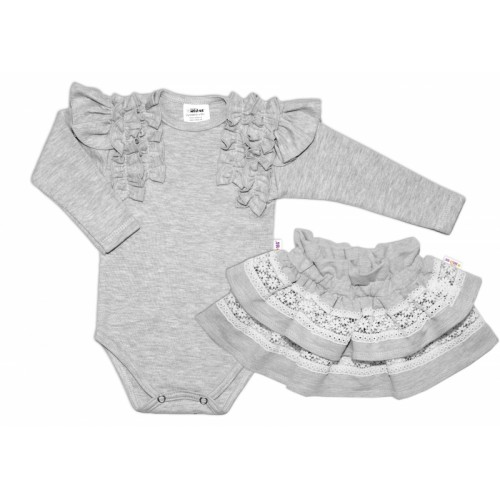BABY NELLYS 2 dielna sada, body dl.rukáv + suknička s krajkou a volánikmi, veľ. 86, sivá