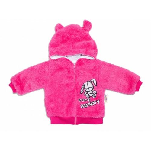Baby Nellys Dojčenská chlupáčková bundička  s kapucňou Cute Bunny - malinová, veľ. 80