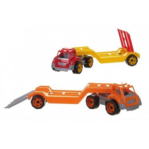 Auto kamión prepravník / odtahovka plast 65cm na voľný chod 2 farby v sieťke