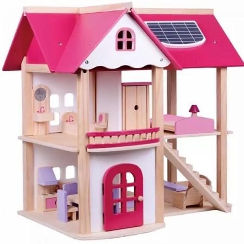 Tulimi Drevený domček pre bábiky, ružový