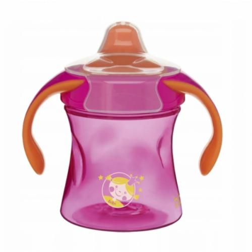 Bibi Nekvapkajúci tréningový hrnček Basic Care, 12m + - ružová / oranžová, 220ml