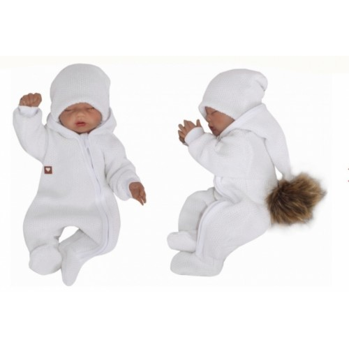 Z&Z Prechodová kombinéza s kapucňou a kožušinovou brmbolcom, biela