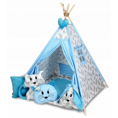 Baby Nellys Stan pro děti týpí s velkou výbavou, čtyři polštářky + podložka, šedá, modrá