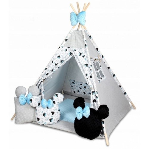 Baby Nellys Stan pro děti týpí s velkou výbavou, Minnie, biela, čierna, modrá