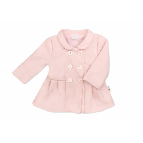 Baby Nellys Detský flaušový kabátik, púdrovo ružový, veľ. 80