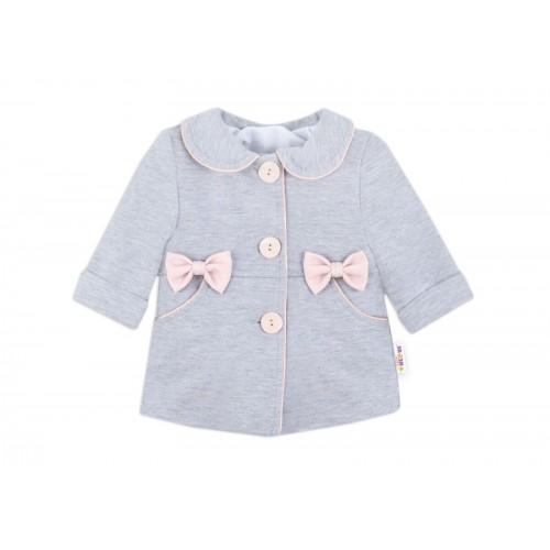 Baby Nellys Detský bavlnený kabátik s mašličkami, sivý, veľ. 86
