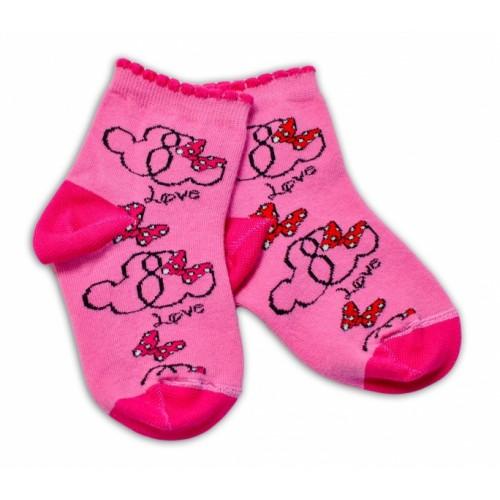 Baby Nellys Bavlnené ponožky Minnie Love - tmavo růžové, veľ. 17-18 cm
