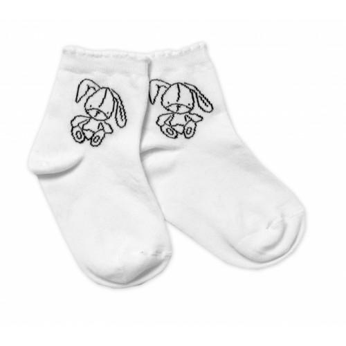 Baby Nellys Bavlnené ponožky Cute Bunny - biele, veľ. 17-18 cm