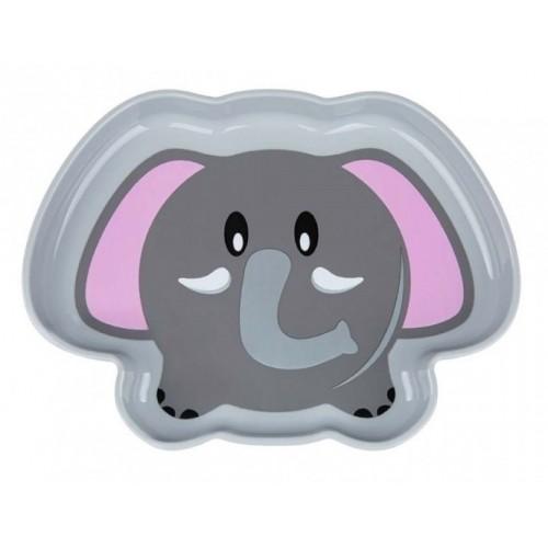 Akuku Plastový tanierik - Slonik, sivý