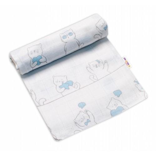 Baby Nellys Kvalitná bavlnená plienka - Tetra Premium, 70x80cm - Kocúr Elegán, modrá