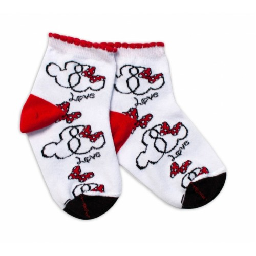 Baby Nellys Bavlnené ponožky Minnie Love - biele, veľ. 15-16 cm