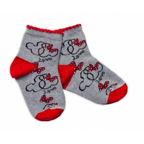 Baby Nellys Bavlnené ponožky Minnie Love - sivé, veľ. 17-18 cm
