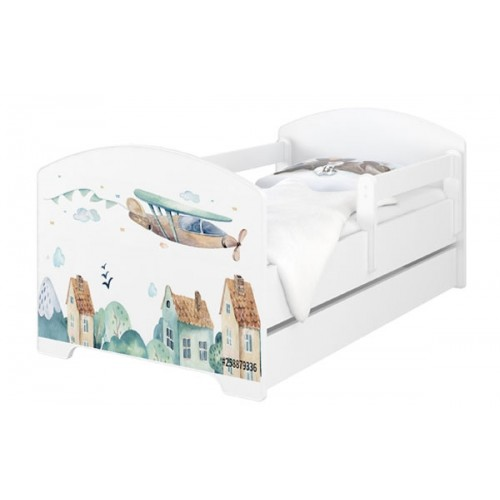 Babyboo Detská posteľ 140 x 70 cm - Lietadlo