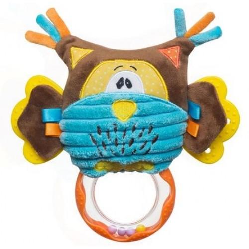 BabyOno Edukačná hračka s hrkálkou a hryzátkom - Sova