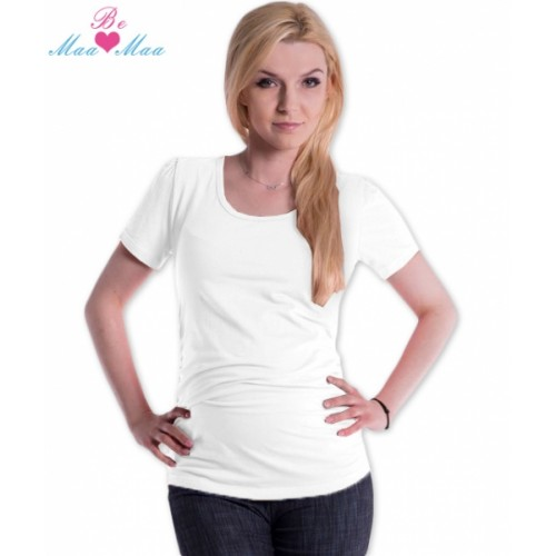 Be MaaMaa Tričko JOLY bavlna nielen pre tehotné - biele