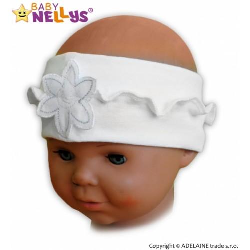 Čelenka Baby Nellys ® s kvetinkou a volánikom - biela
