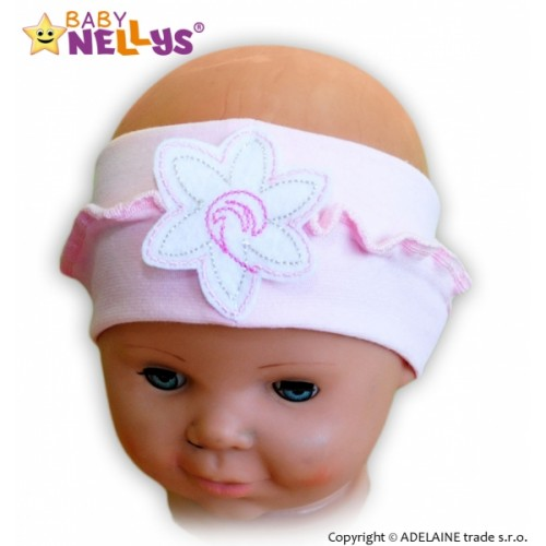 Čelenka Baby Nellys ® s kvetinkou a volánikom - sv. ružová