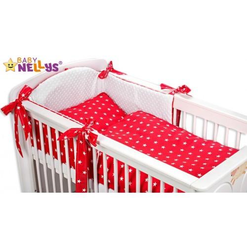 Baby Nellys Mantinel s obliečkami Mink BABY - červené hviezdičky