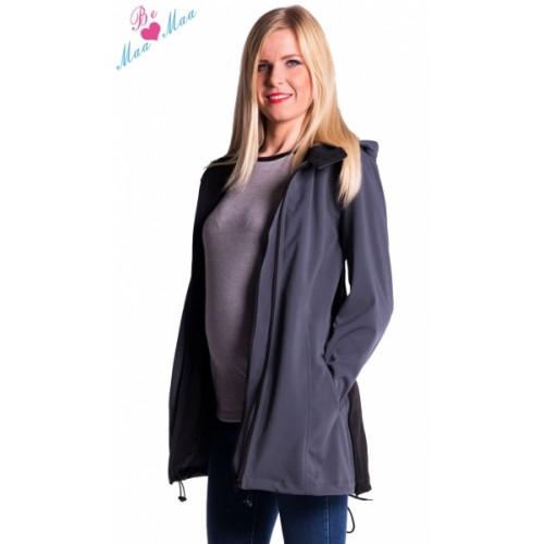 Be MaaMaa Tehotenská softshellová bunda, kabátik - sivá / grafit