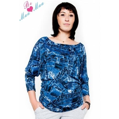 Be MaaMaa Tehotenské štýlové tričko, blúzka s JEANS vzorom