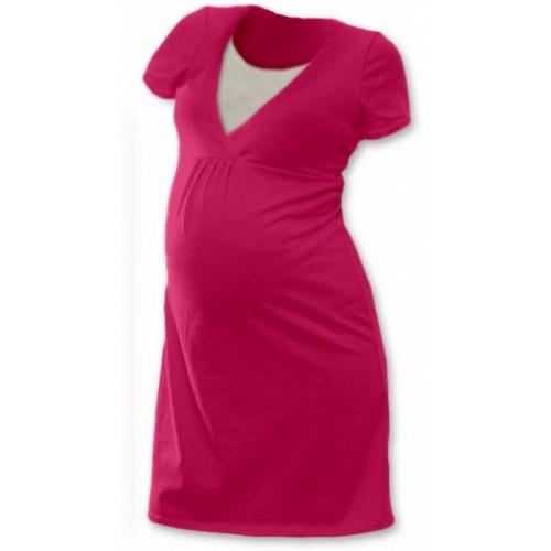 JOŽÁNEK Tehotenská, dojčiace nočná košeľa JOHANKA krátky rukáv - sýto ružová