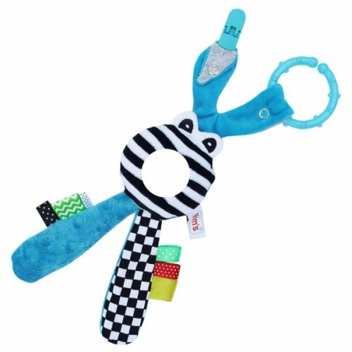 Hencz Toys Edukačná hračka s hrkálkou - Zajačik - zrkadielko -modré