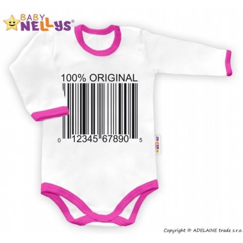 Baby Nellys Body dlhý rukáv 100% ORIGINÁL - bielo / ružový lem