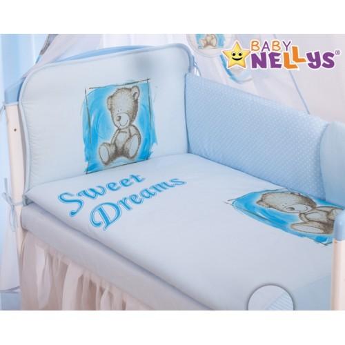 Baby Nellys Mantinel 360 cm s obliečkami Sweet Dreams by Teddy - modrý