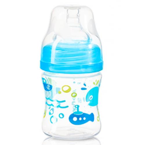 BabyOno Antikoliková fľaštička so širokým hrdlom - modrá