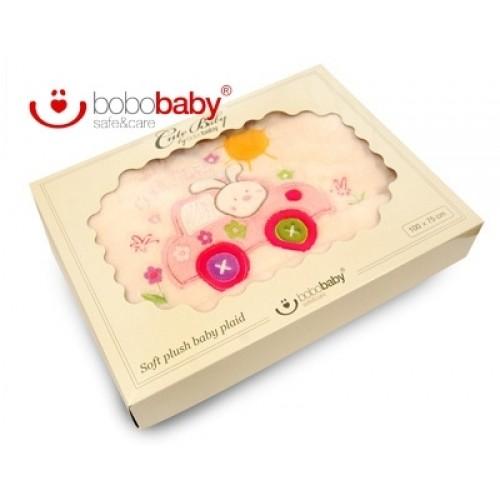 BOBO BABY Detská deka BOBOBABY - Králiček v aute - krémová/ružová