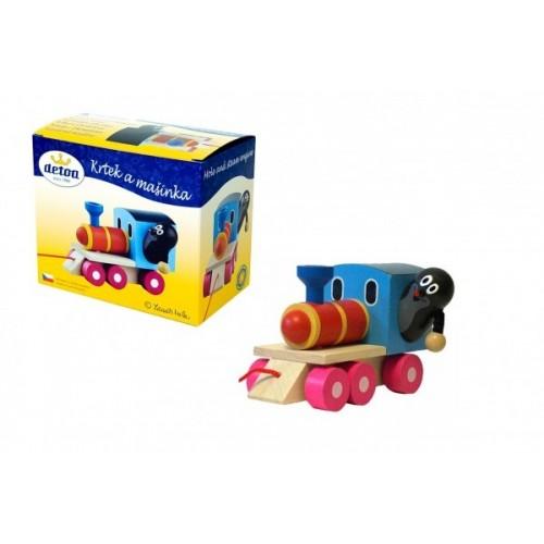 Teddies Krtek a mašinka/vlak dřevo 12cm tahací v krabičce