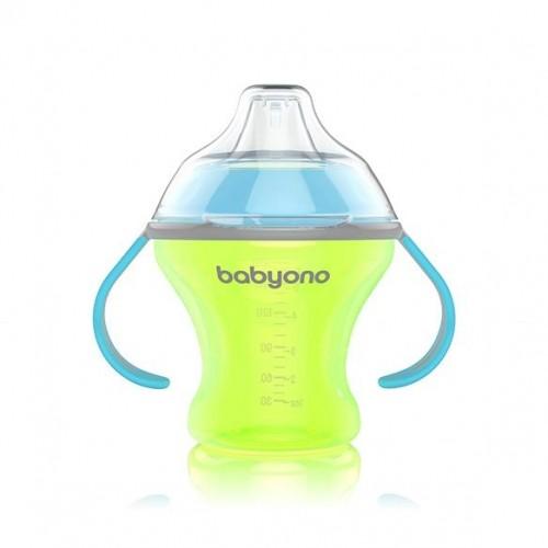 BabyOno Nekvapkajúci hrnček s tvrdým náustkom - zeleno/modrý