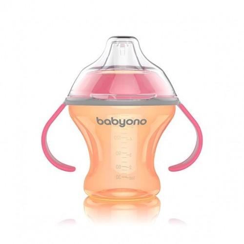 BabyOno Nekvapkajúci hrnček s tvrdým náustkom Baby Ono - oranžovo/ružová