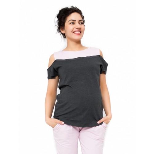 Be MaaMaa Tehotenské tričko Kira - tmavo sivá / ružová