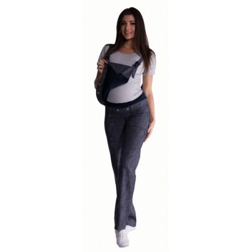 Be MaaMaa Tehotenské nohavice s trakmi - granátový melírek