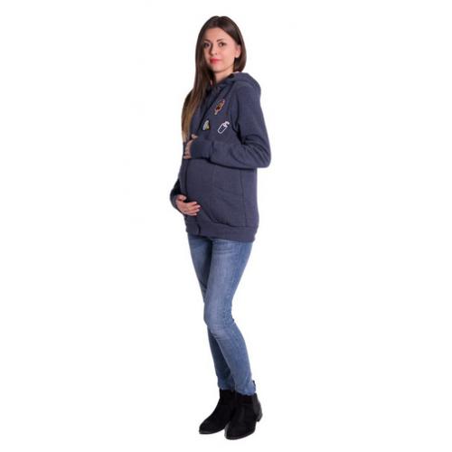 Be MaaMaa Tehotenská a nosiaci mikina - granát jeans