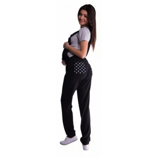 Be MaaMaa Tehotenské teplákové nohavice s trakmi - bordó