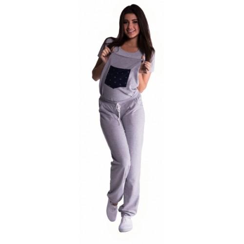 Be MaaMaa Tehotenské teplákové nohavice s trakmi - sivé