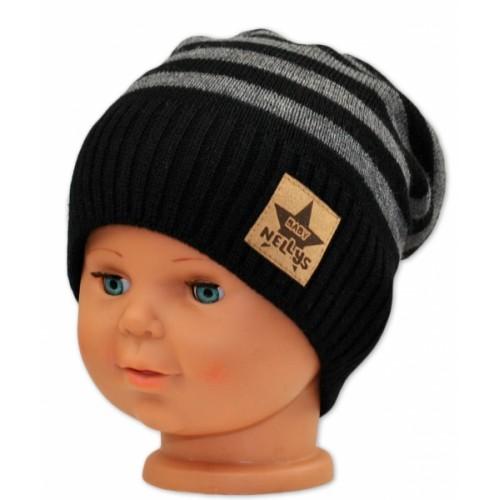 BABY NELLYS Jesenná/zimní prúžkovaná čiapka - čierno/sivá